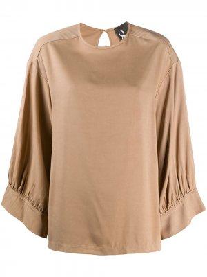 Блузка свободного кроя с круглым вырезом 8pm. Цвет: нейтральные цвета