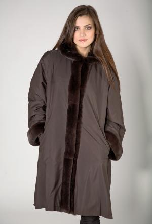 Расклешенное пальто на меху большой размер Rolf Schulte. Цвет: коричневый