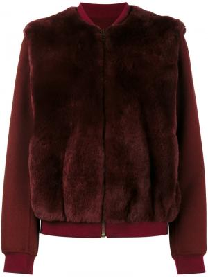 Куртка-бомбер с отделкой из кроличьего меха Yves Salomon. Цвет: красный