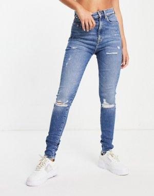 Голубые супероблегающие джинсы с рваной отделкой на коленях -Голубой Tommy Jeans
