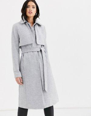 Длинное пальто с поясом и накидкой -Серый Fashion Union