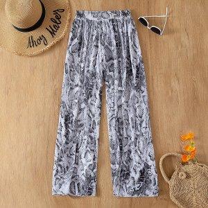 Пляжные брюки со змеиным принтом SHEIN. Цвет: многоцветный