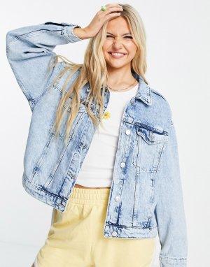 Светло-голубая выбеленная джинсовая куртка из органического хлопка Bonnie-Голубой Monki