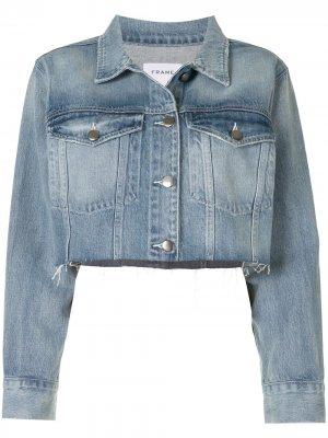 Джинсовая куртка Ultra Crop FRAME. Цвет: синий
