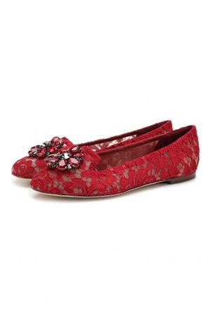 Текстильные балетки Rainbow Lace Dolce & Gabbana. Цвет: красный