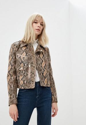 Куртка кожаная Max&Co. Цвет: бежевый