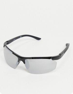 Квадратные черные солнцезащитные очки c зеркальными стеклами в стиле 90-х -Серебристый ASOS DESIGN
