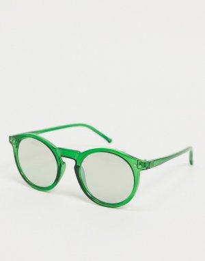 Зеленые круглые солнцезащитные очки -Зеленый цвет ASOS DESIGN