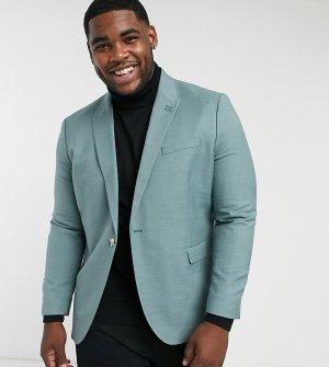 Шалфейно-зеленый однобортный пиджак зауженного кроя Big & Tall-Зеленый цвет Topman