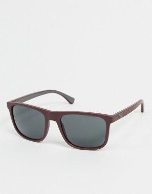 Красные солнцезащитные очки с серыми стеклами -Красный Emporio Armani