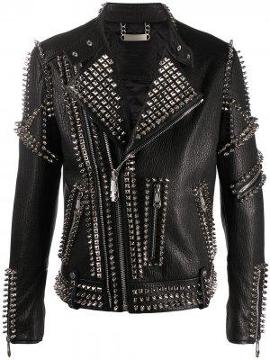 Байкерская куртка Doberman с заклепками Philipp Plein. Цвет: черный