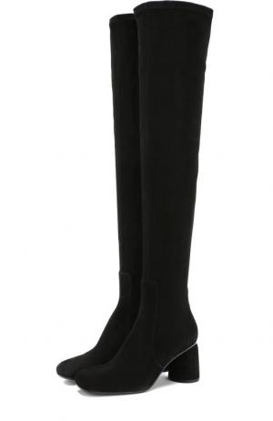 Замшевые ботфорты на фигурном каблуке Baldan. Цвет: черный