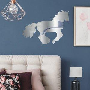 Стикер стены поверхности зеркала лошади 1шт SHEIN. Цвет: серебряные