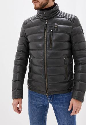 Куртка кожаная Blauer. Цвет: хаки