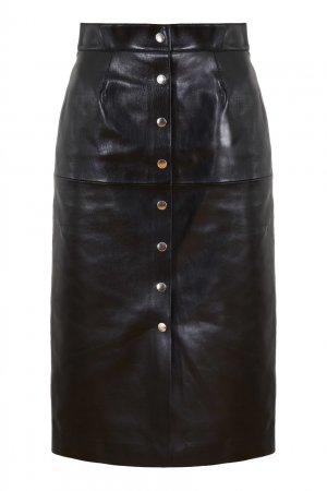 Черная кожаная юбка Blehor Isabel Marant. Цвет: черный