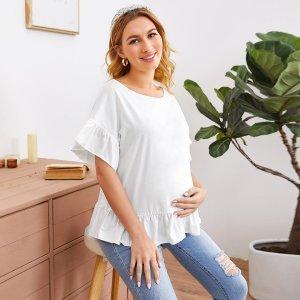 Однотонный топ с оборками для беременных SHEIN. Цвет: белый