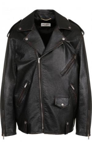 Кожаная куртка свободного кроя с косой молнией Saint Laurent. Цвет: черный