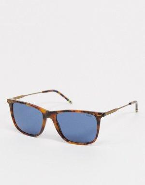 Солнцезащитные очки в квадратной черепаховой оправе OPH4163-Коричневый цвет Polo Ralph Lauren