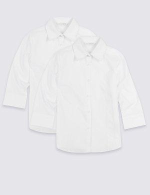 Школьная блузка Easy to Iron с рукавом 3/4 (2 шт) Marks & Spencer. Цвет: белый