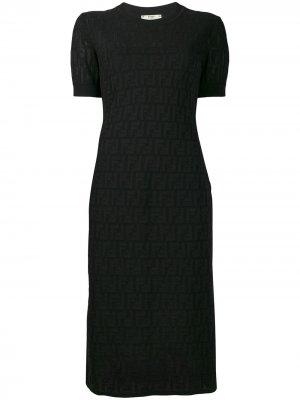 Платье Loungette с логотипом Fendi. Цвет: черный