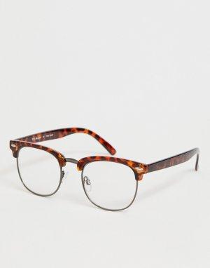 Очки в стиле ретро с черепаховой оправой и прозрачными стеклами AJ Morgan. Цвет: коричневый