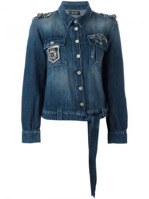 Джинсовая куртка с вышивкой Twin-Set. Цвет: синий