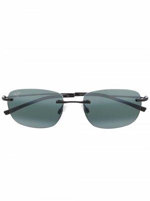 Солнцезащитные очки в овальной оправе Maui Jim. Цвет: черный