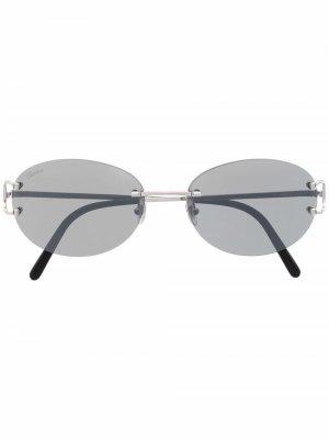 Солнцезащитные очки с овальными линзами Cartier Eyewear. Цвет: серебристый