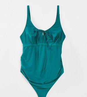 Зеленый слитный купальник с завязкой Maternity Exclusive-Зеленый цвет Wolf & Whistle