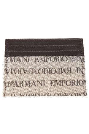 Визитница Emporio Armani. Цвет: коричневый