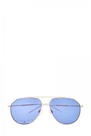 Очки-авиаторы в тонкой золотистой оправе с двойным мостом TOMMY HILFIGER (sunglasses). Цвет: none