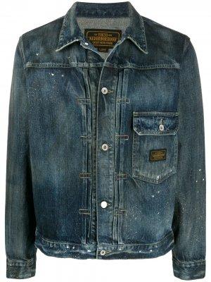 Джинсовая куртка с эффектом разлитой краски Neighborhood. Цвет: синий