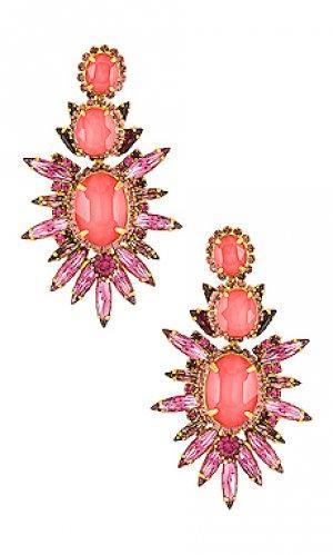 Свисающие серьги carmella Elizabeth Cole. Цвет: розовый