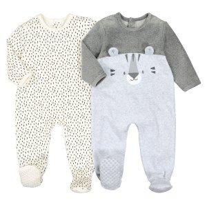 Комплект из 2 цельных пижам LaRedoute. Цвет: бежевый