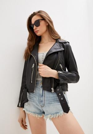 Куртка кожаная AllSaints Core. Цвет: черный