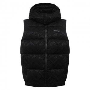 Пуховый жилет Versace. Цвет: чёрный