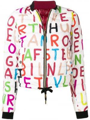 Куртка бомбер с принтом Herno. Цвет: белый