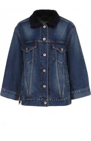 Джинсовая куртка с потертостями и накладными карманами Sacai. Цвет: голубой