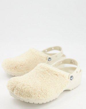 Кремовые меховые клоги Originals-Бежевый Crocs