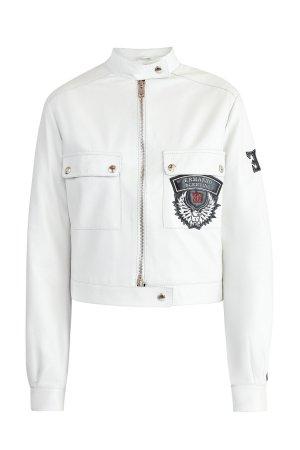 Кожаная куртка с застежками в байкерском стиле и объемной отделкой ERMANNO SCERVINO. Цвет: белый