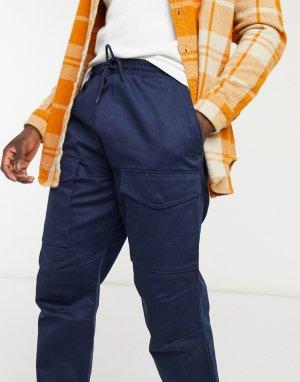Темно-синие брюки карго со шнурками на талии -Темно-синий Edwin