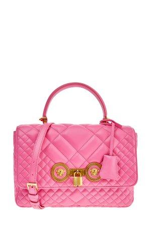 Стеганая сумка Icon из кожи наппа с золотистой отделкой VERSACE. Цвет: розовый