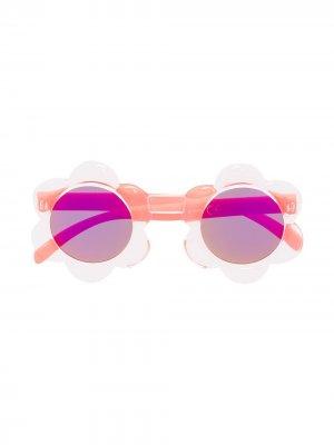 Солнцезащитные очки в круглой оправе Molo. Цвет: розовый