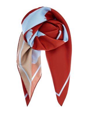 Платок из шелкового твила с макро-принтом BURBERRY. Цвет: мульти