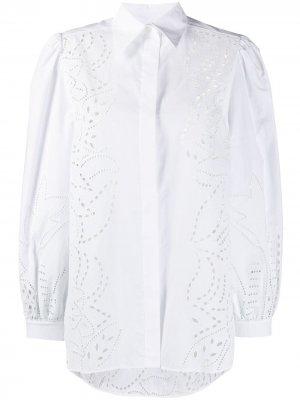 Блузка с английской вышивкой Alberta Ferretti. Цвет: белый