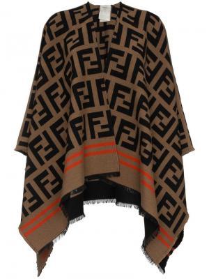 Шаль с логотипом FF Fendi. Цвет: коричневый