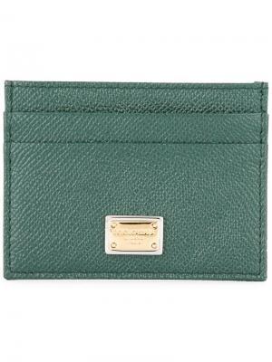 Картхолдер из кожи Dauphine Dolce & Gabbana. Цвет: зеленый