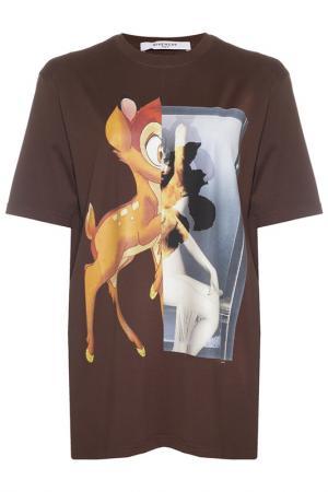 Майка Givenchy. Цвет: коричневый