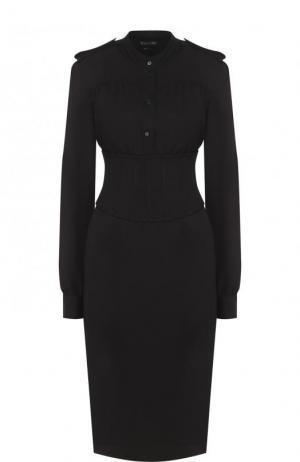 Приталенное платье-миди с погонами и широким поясом Tom Ford. Цвет: черный