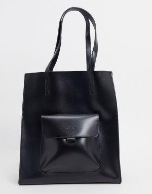 Большая черная сумка-тоут с карманом -Черный Claudia Canova